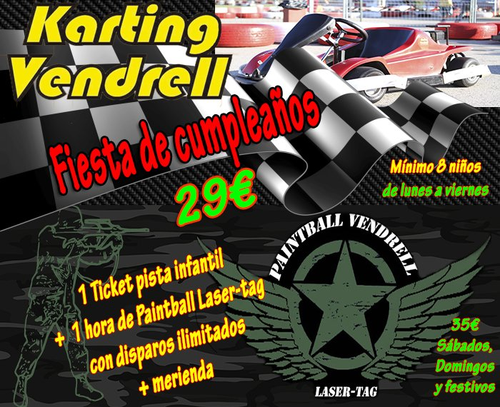 Fiesta de cumpleaños en karting y paintball